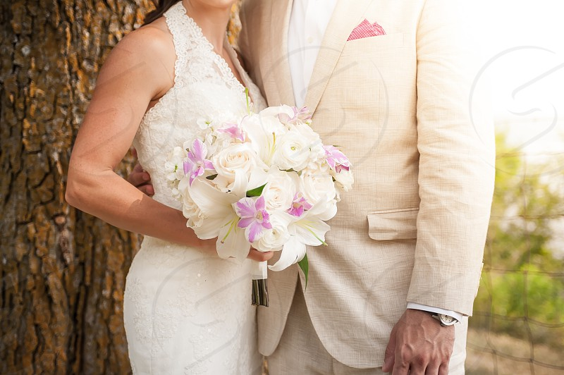 marriage bride groom bouquet flowers dress tuxedo wedding outside tree outdoors love watch gown purple pink white photo