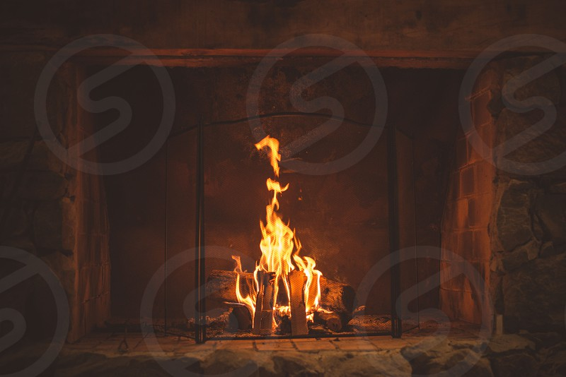fire fireplace wood firewood photo