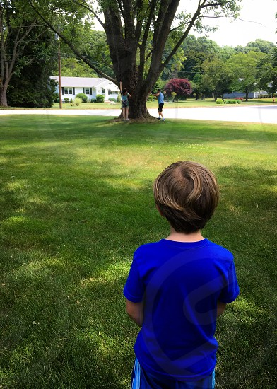 Front yard living -  little boy contemplating going to climb the tree with his family. Front yard green grass climbing trees little boy blue shirt  photo