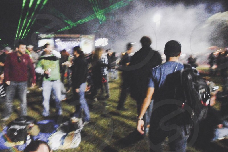 Music festival blurred in the crowd photo