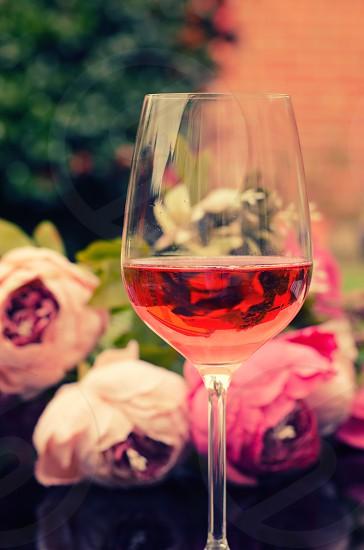 rose wine wine glasses summer summertime garden garden party refreshing pink fruity photo