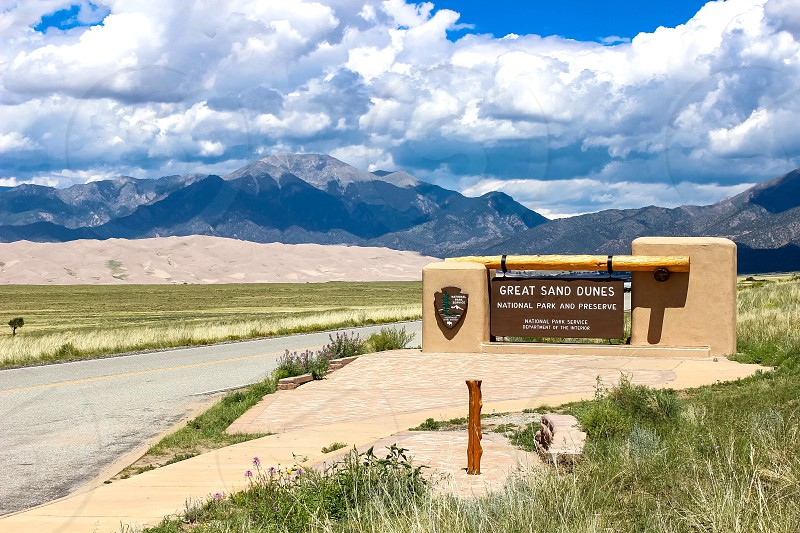Entrance sign at the Great Sand Dunes in September 2017 photo