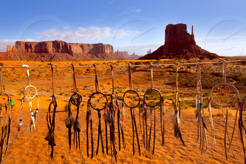 Dreamcatcher Monument West Mitten Butte morning with navajo indian crafts Utah photo