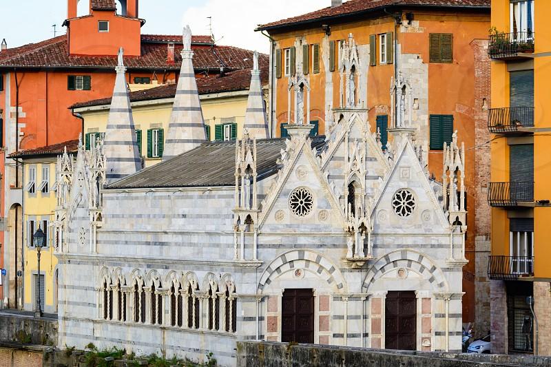 Close up of the historical church of Santa Maria della Spina in Pisa photo
