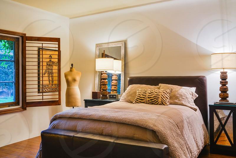 home interior bedroom bed design warm cozy photo