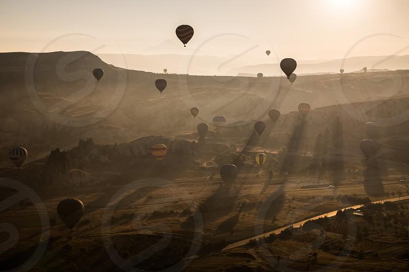 aerial view landscape hot air balloons Turkey Cappadocia travel wanderlust photo