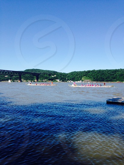 Dragon Boat Festival. Hudson River. City of Poughkeepsie.  photo