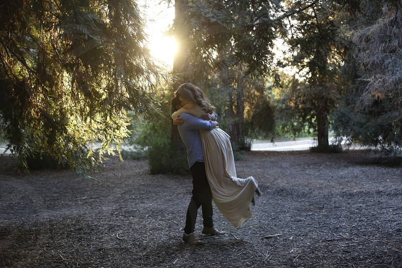 Couple hugging in the redwood forest at sunset. photo