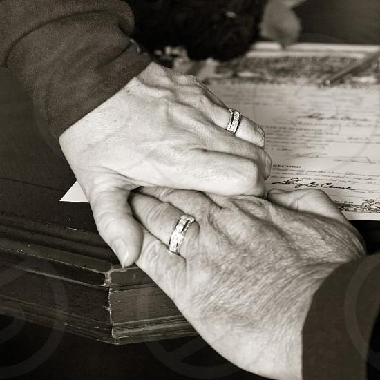 Wedding hands at medieval wedding photo