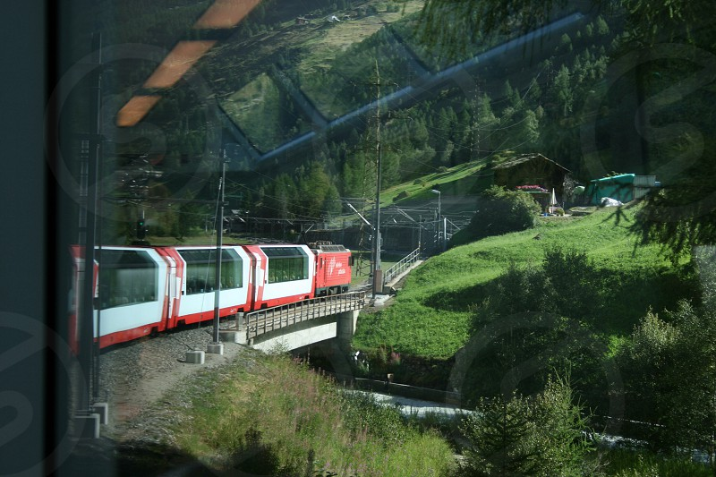Glacier Express train Switzerland.  photo