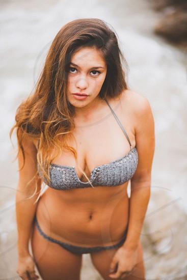 woman wearing a gray bikini photo