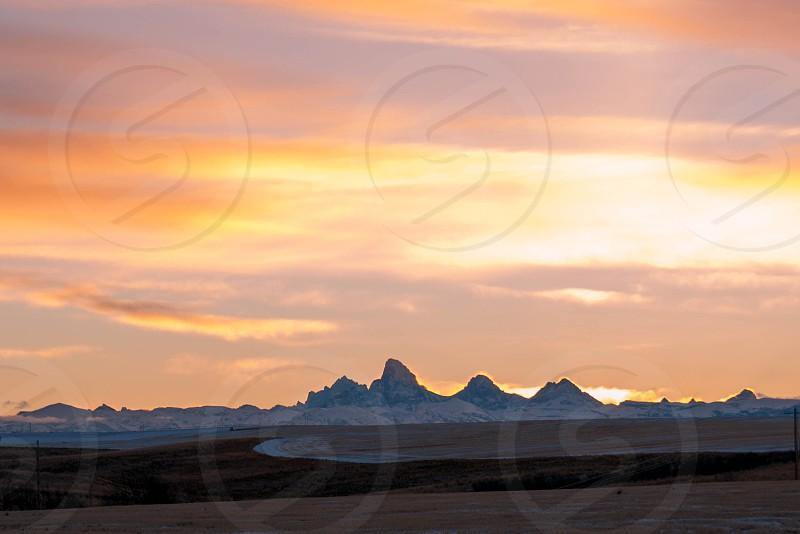 The Teton range at sunrise photo