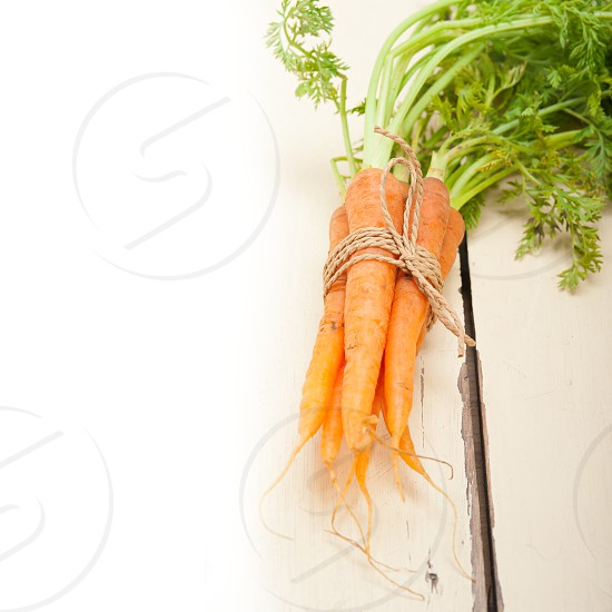 fresh baby carrots bunch tied with rope on a rustic table photo