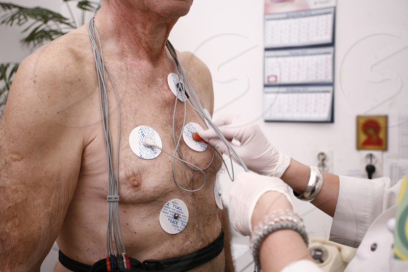 Patient recovering from surgery holter ekg photo