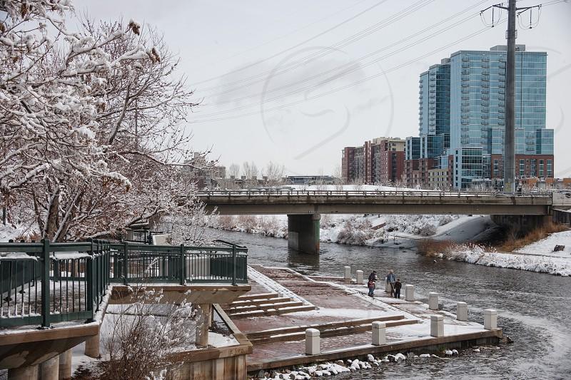 Winter scenes Confluence Park in Denver Colorado photo