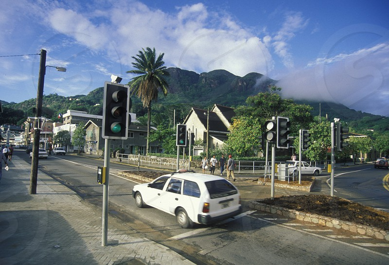 the city of Victoriaon the Island Mahe of the seychelles islands in the indian ocean photo