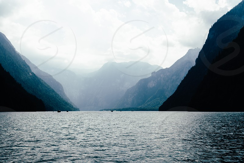 Scenic view of Konigssee in Bavaria a misty day. Germany photo
