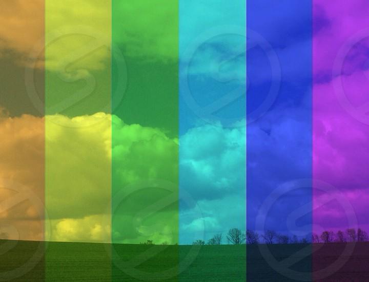rainbow colored photo of field photo