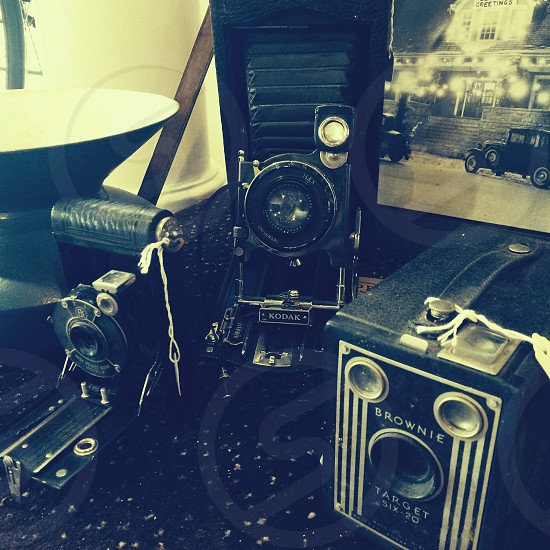 LOVE old cameras... Some antique cameras I found at a museum back in WI  photo