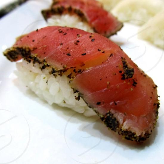 Peppered tuna tataki nigiri sushi photo