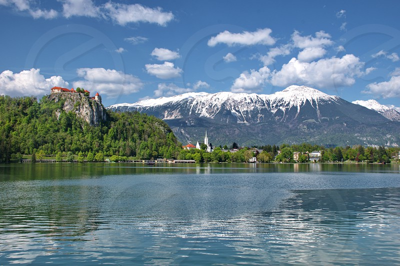 Old Town from the Bohinj lake in Slovenia photo