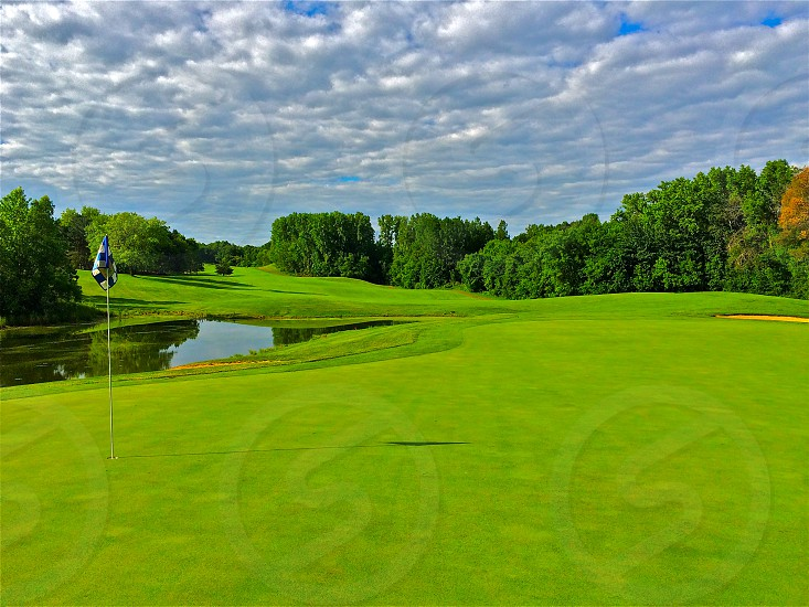 Golf course Wisconsin Northwoods clouds photo