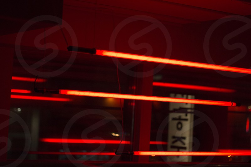 red fluorescent bulb inside room photo