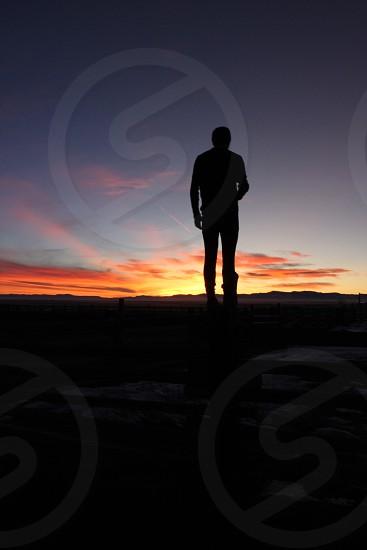 My friend John observing the Colorado sunset photo