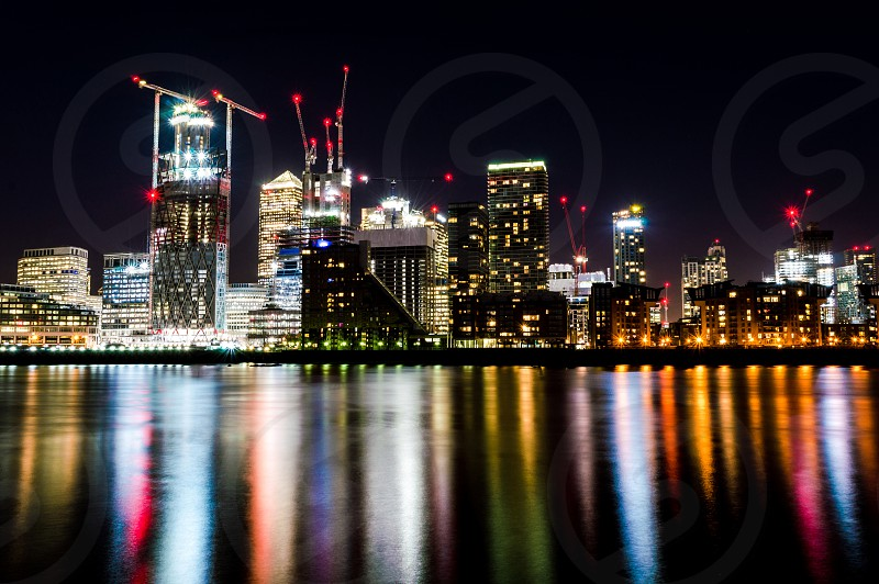 Long exposure pictute of Canary wharf in London photo