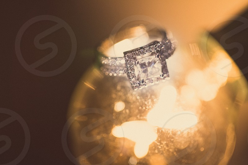 silver pave ring with large square diamond photo