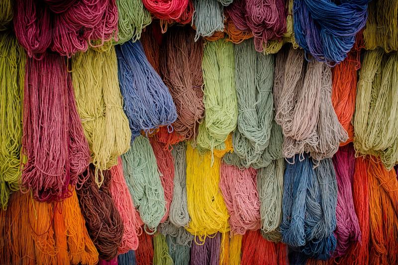 multicolor skeins of yarn photo
