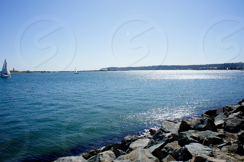 Beautiful blue waters in the San Diego Bay photo
