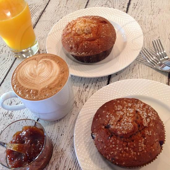 Saturday Breakfast : muffins oj caffe latte photo