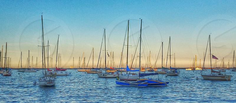 Boats water beautiful.  photo