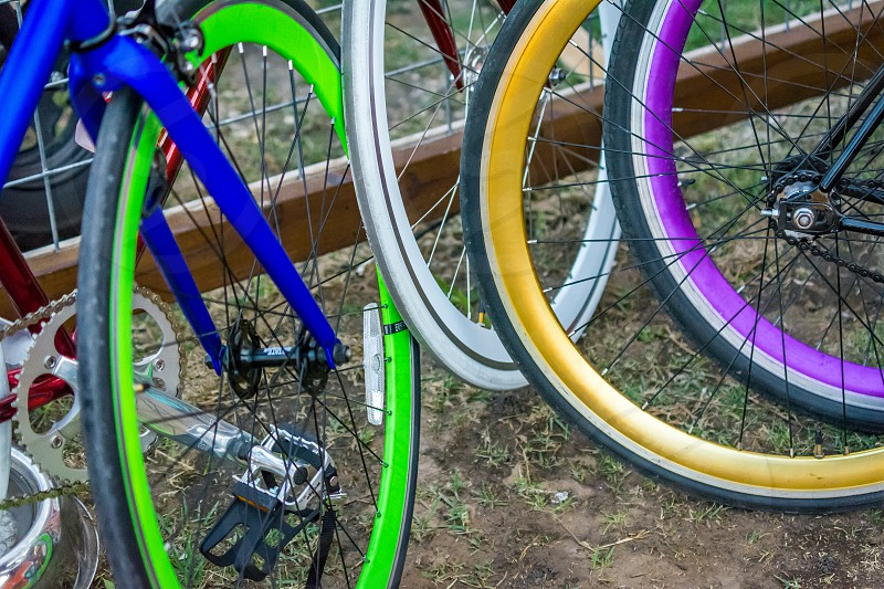 light pattern repetition repeat design tires wheels bikes bicycles rims color vibrant photo