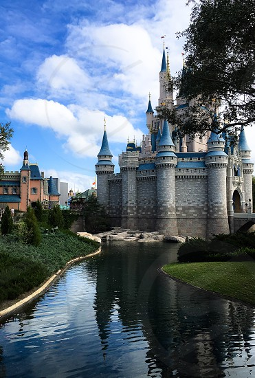 Fairytale castle - castle moat green grass dreamy imagination family vacation tower turret blue photo