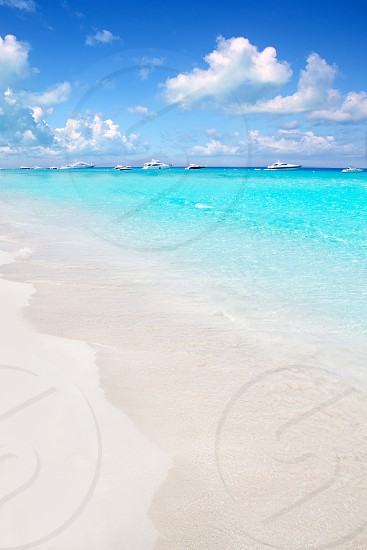 Illetes Formentera East tanga beach with tropical turquoise Mediterranean sea photo