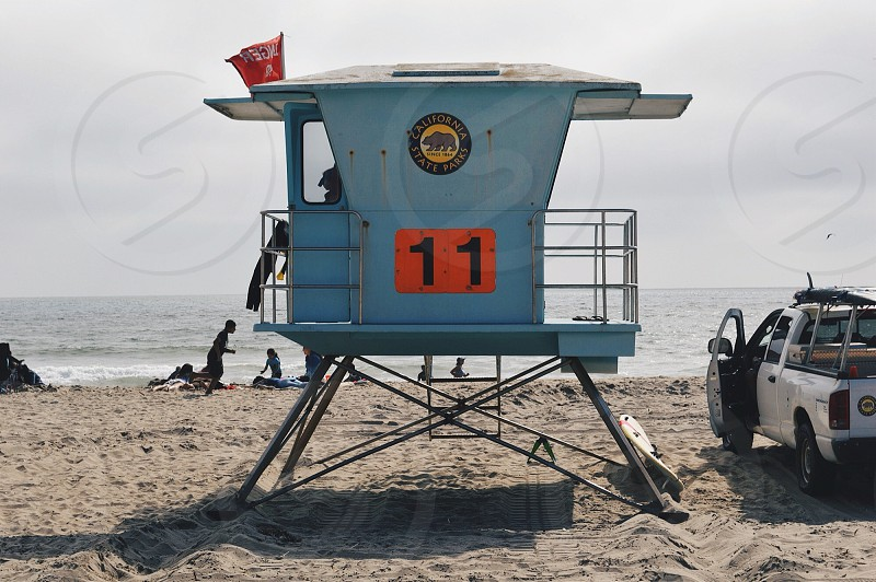 california state parks lifeguard tower on beach photo