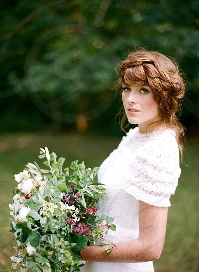 Flowers Wedding Bridal Dress Outdoor Film photo