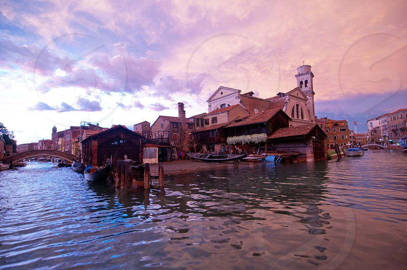"""San trovaso """"squero """" in Venice Italy is the place where gondolas and other boat are build and repaired photo"""