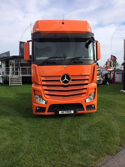 Mercedes lorry orange photo