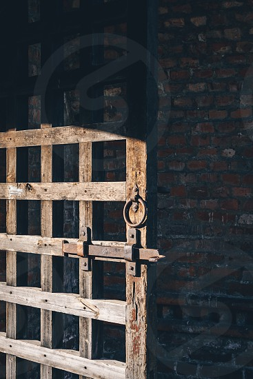 Old wooden grid door against an old brick wall  photo