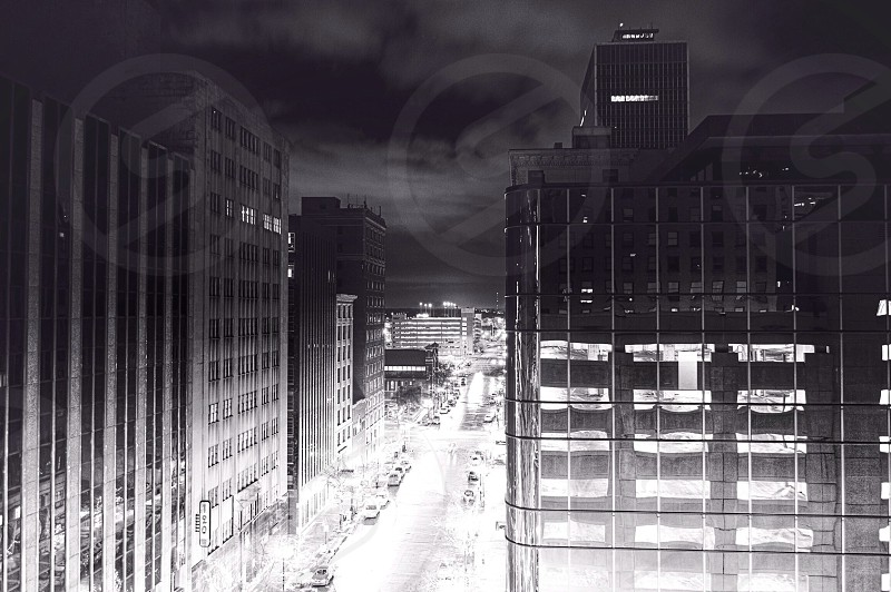 grayscale photo of city scape photo