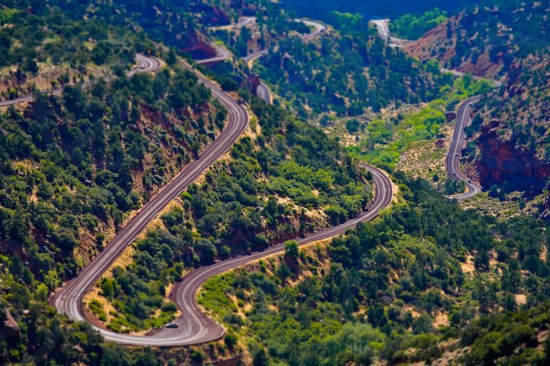 Tilt shift road winding roads canyon Zion photo