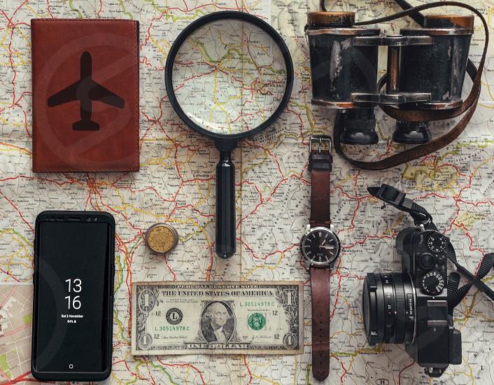 Travel essentials flat lay. photo