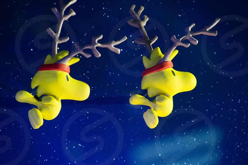flying reindeer Woodstock Christmas blue yellow photo