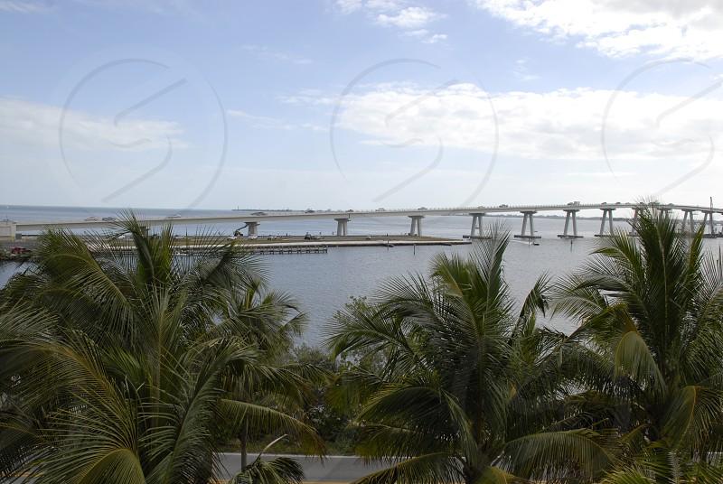 Sanibel Island Florida. Sanibel Causeway crossing San Carlos Bay. Blue sky after sunrise photo