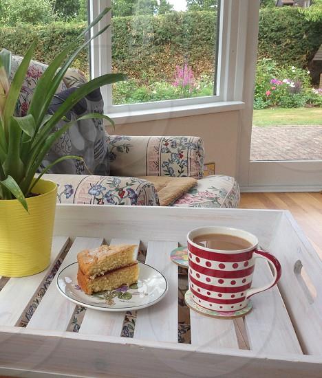 Polka dots red white mug cup cake tray afternoon tea photo