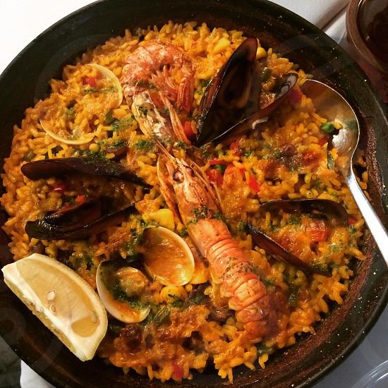 Classic Spanish paela in Barcelona photo