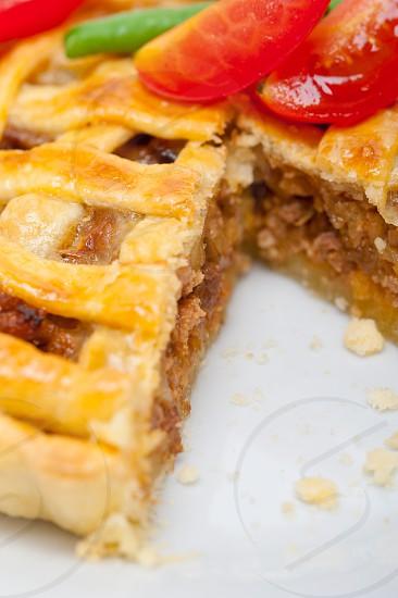 fresh baked home made beef pie macro closeup photo